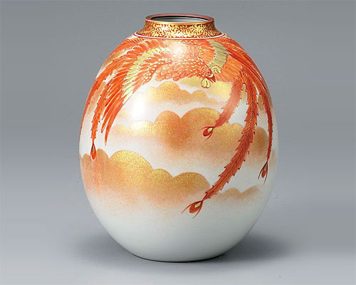 九谷焼 8号 花瓶 フラワーベース 赤絵鳳凰紋 福田良則