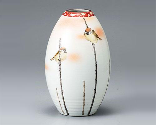 九谷焼 8号 花瓶 フラワーベース 二雀図 中村陶志人