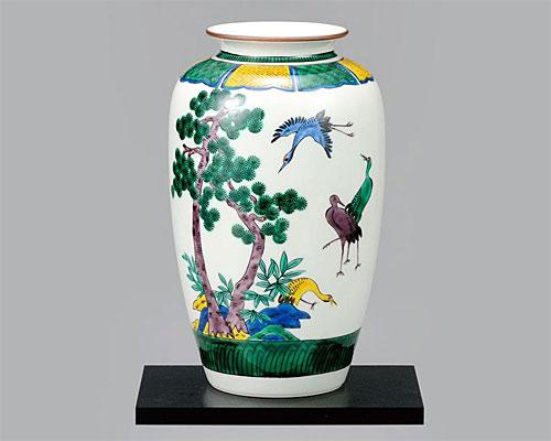 九谷焼 10号 花瓶 フラワーベース 古九谷松鶴