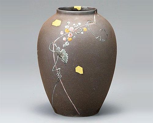 九谷焼 9号 花瓶 フラワーベース 山葡萄 福田良則