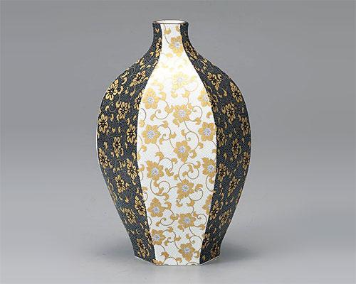九谷焼 10号 花瓶 フラワーベース 山葡萄 福田良則
