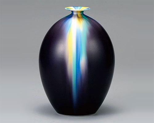 九谷焼 8号 花瓶 フラワーベース 釉彩 博峰窯