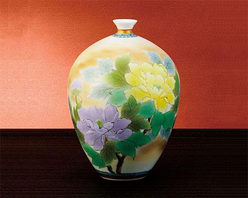 九谷焼 9号 花瓶 フラワーベース 牡丹 高明