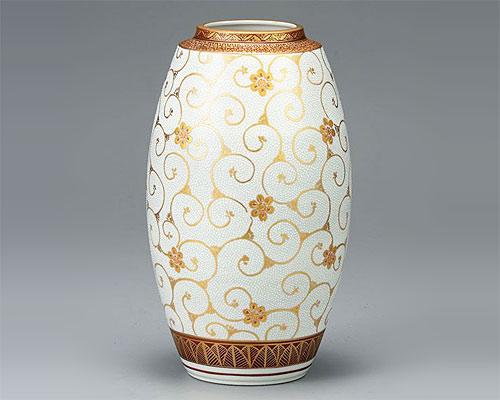 九谷焼 9.5号花瓶 フラワーベース 本金白粒鉄仙 佐伯信平