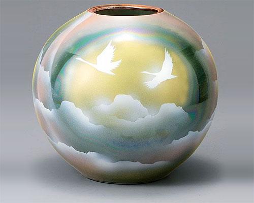 九谷焼 8号 花瓶 フラワーベース 雲海に鶴