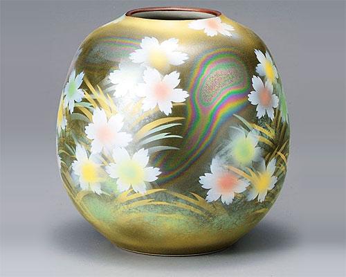 九谷焼 8号 花瓶 フラワーベース 花紋