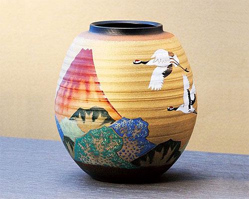九谷焼 8号 花瓶 フラワーベース 赤富士に鶴 古田弘毅