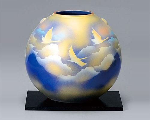 九谷焼 8号 花瓶 フラワーベース 雲海鶴