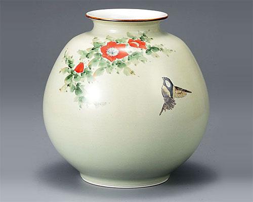 九谷焼 8号 花瓶 フラワーベース 花鳥の図 中村陶志人
