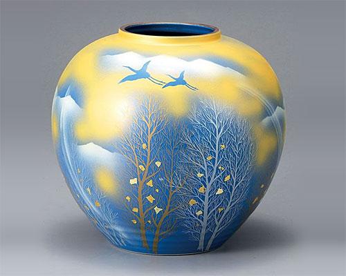 九谷焼 8号 花瓶 フラワーベース 金雲木立