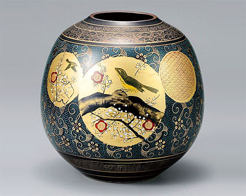 九谷焼 8号 花瓶 フラワーベース 青粒梅にうぐいす