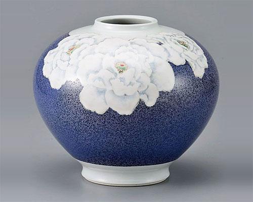 九谷焼 8号花瓶 フラワーベース 青良窯