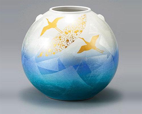 九谷焼 8号 花瓶 フラワーベース 銀彩金鶴