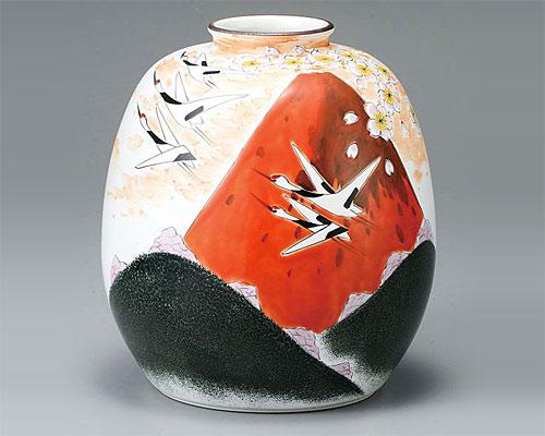 九谷焼 8号 花瓶 フラワーベース 赤富士