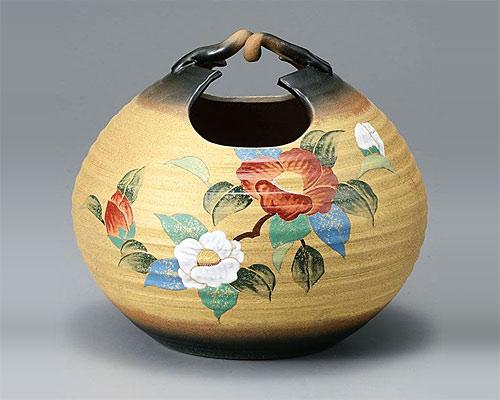 九谷焼 8号 花瓶 フラワーベース 金彩山茶花 古田弘毅