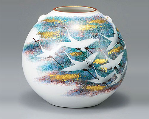 九谷焼 8号 花瓶 フラワーベース 金箔花鳥