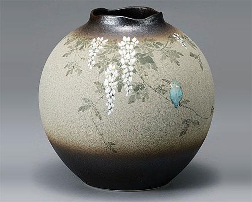 九谷焼 8号 花瓶 フラワーベース ふじにカワセミ 中村陶志人