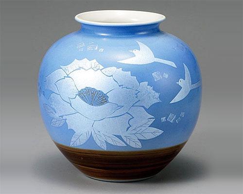 九谷焼 8号 花瓶 フラワーベース 銀彩花鳥 山田登陽志