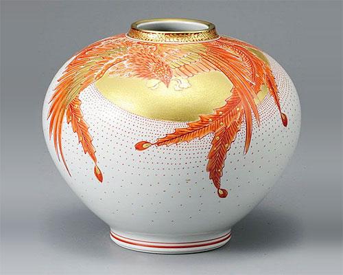 九谷焼 8号 花瓶 フラワーベース 金彩鳳凰 福田良則