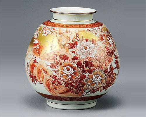 九谷焼 8号 花瓶 フラワーベース 本金赤絵牡丹おしどり 光崖