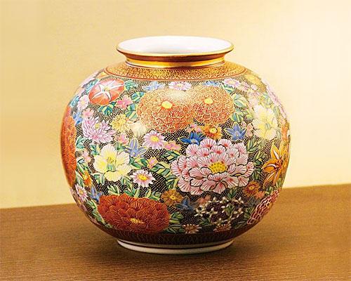 九谷焼 8号 花瓶 フラワーベース 本金花詰 佐伯信平