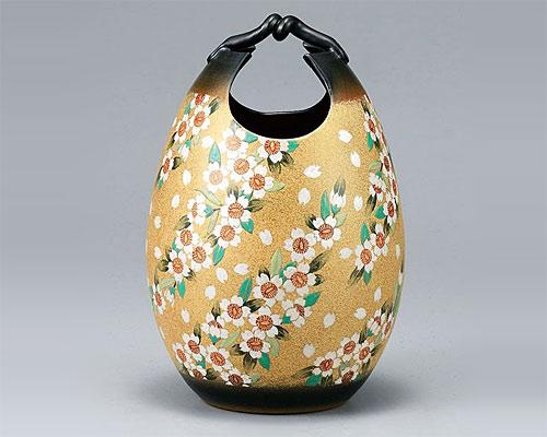 九谷焼 10号手桶花瓶 フラワーベース 桜舞 古田弘毅