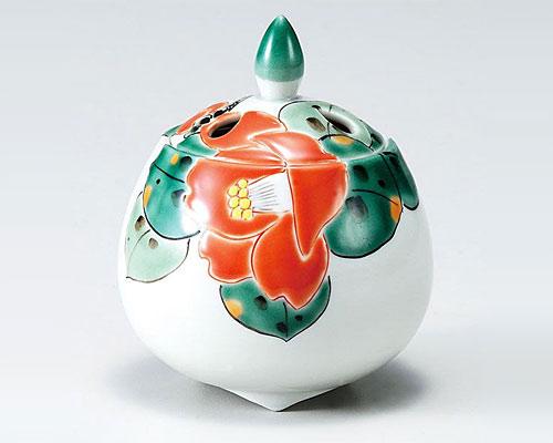 九谷焼 香炉 2.8号 椿文