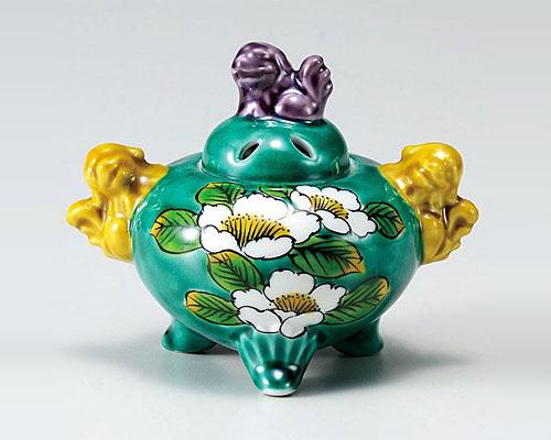 九谷焼 香炉 3.3号 グリーン山茶花