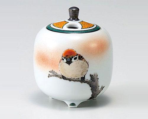 九谷焼 香炉 3号 雀図 中村陶志人