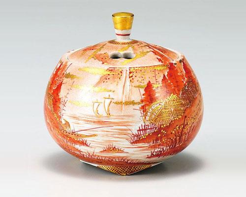 九谷焼 香炉 3.3号 赤山水