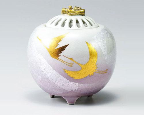 九谷焼 香炉 3.5号 銀彩双鶴