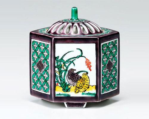 九谷焼 香炉 3.5号 古九谷花鳥