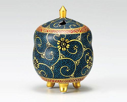 九谷焼 香炉 3.5号 瓢型 本金青粒 龍山