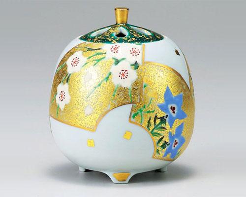 九谷焼 香炉 4.3号 金彩扇面草花 山崎浩昭
