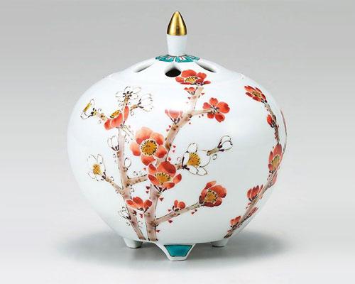 九谷焼 香炉 4号 紅白梅 山田龍山