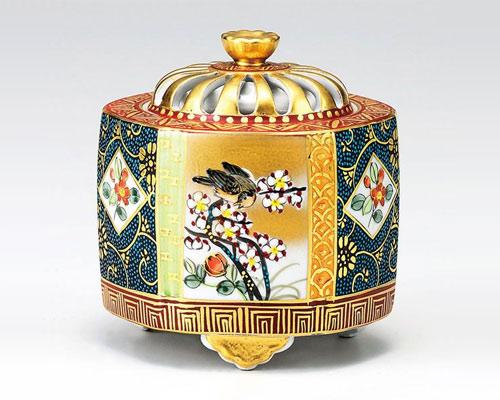 九谷焼 香炉 4号 本金青粒花鳥 大雅