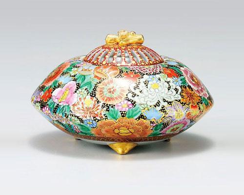 九谷焼 香炉 4.5号 本金花詰 大雅