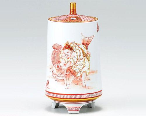九谷焼 香炉 5号 赤絵恵比寿文 中村陶志人