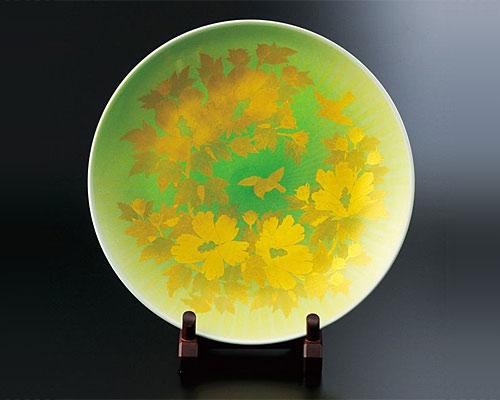 九谷焼 15号 飾皿 釉裏金彩木槿文 吉田美統