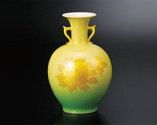 九谷焼 7号 花瓶 釉裏金彩牡丹文 吉田美統