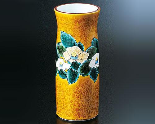 九谷焼 8.5号花瓶 彩磁彩 椿 三代浅蔵五十吉