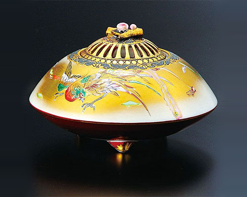 九谷焼 4.5号 香炉 金襴鳳凰図 高明