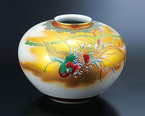 九谷焼 10号 花瓶 金襴鳳凰図 高明