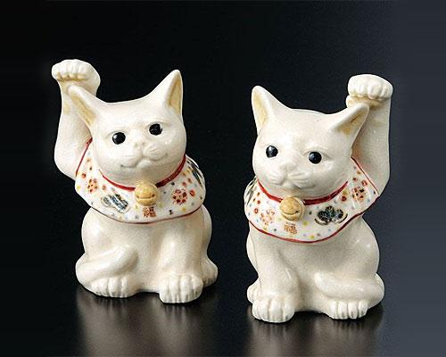 九谷焼 3号組招き猫 縁起物 仁清風 宮本直樹