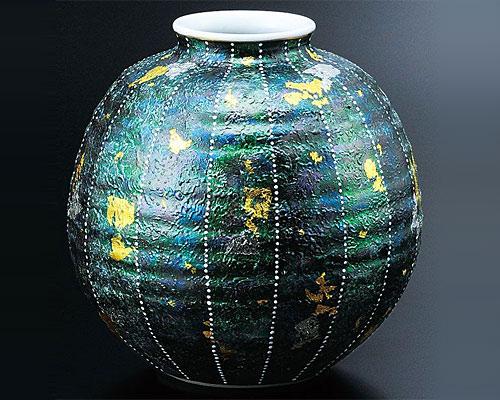 九谷焼 6号 花瓶 黒彩 北村和義