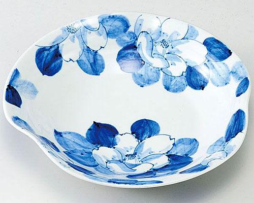 九谷焼 鉢 8.2号鉢 染付山茶花