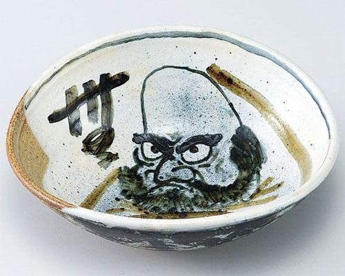 九谷焼 鉢 8号楕円鉢 だるま 二代古青