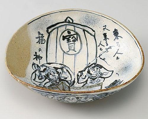 九谷焼 鉢 10号鉢 七福神宝船 二代古青