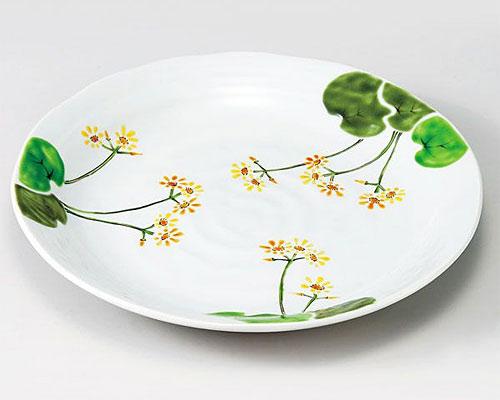 九谷焼 皿 9号盛皿 つわぶき 色絵九谷遊