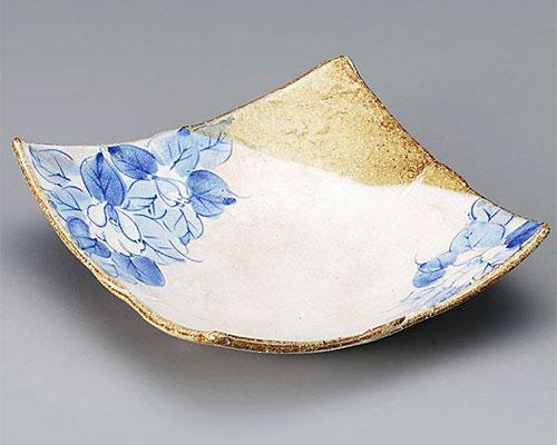 九谷焼 皿 6.5号角盛皿 藍椿 虚空蔵窯